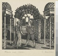 Eric Ravilious - Maria and clown, 1932, wood engraving