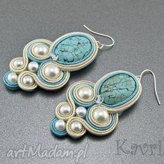 Turquoise and pearl soutache earrings Bead Jewellery, Beaded Jewelry, Handmade Jewelry, Jewelery, Soutache Necklace, Beaded Earrings, Collar Diy, Soutache Tutorial, Do It Yourself Jewelry