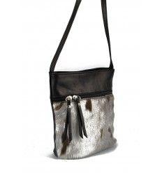 Skøn lille taske med sælskind i sort kalveskind fra Rudi & Harald-1076