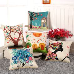 dream house 2016 Fashion European Decorative Cushions Cartoon Flower/tree/girl/bird Throw Pillows Case Car Home Decor Cushion Decor Cojines -- Item can be found on www.aliexpress.com by clicking the image #ThrowCushions