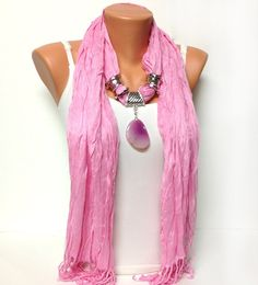 Pink jewelry scarf - wrinkle solid color pink scarf with natural gemstone pendant gift or for you NEW SEASON via Etsy