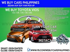 We Buy Used Toyota Vios Philippines  Contact numbers: SMART: 0919-294-7979 GLOBE: 0927-956-2590 / 0906-151-4074  We Buy Toyota Innova 2.5 VDsl A/T  We Buy Toyota Innova 2.0 VGas A/T  We Buy Toyota Innova 2.5 GDsl A/T  We Buy Toyota Innova 2.0 GGas A/T  We Buy Toyota Innova 2.5 GDsl M/T  We Buy Toyota Innova 2.0 GGas M/T  We Buy Toyota Innova 2.5 EDsl A/T  We Buy Toyota Innova 2.0 EGas A/T  We Buy Toyota Innova 2.5 EDsl M/T  We Buy Toyota Innova 2.0 EGas M/T  We