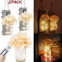 2Pcs Mason Jar Wall Rustic Decor Sconces , Hydrangea Flowers LED Strip Lights With Remote Control Save this photo on your board if you ❤️ it.
