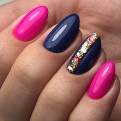 DarkBlue-Pink Nail Art