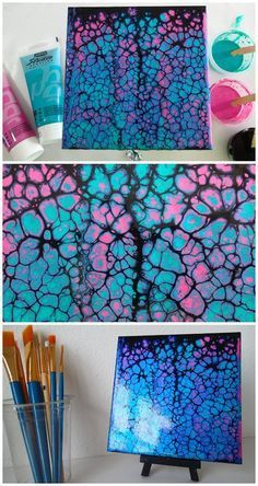 Acrylic pouring and swiping tutorial video. Black swipe using blue and pink iridescent paints. See the other videos in this 4 part YouTube painting challenge