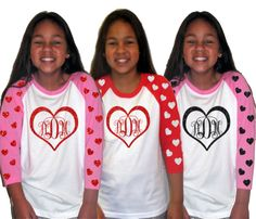 Girls Valentine shirt|Valentine Heart Monogram Glitter Baseball Raglan Tee|Youth|Girls Raglan Baseball t-shirt|Glitter Monogram tee by GavinsAllyeDesigns on Etsy