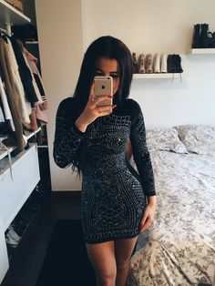 Long sleeves dress more night out outfit, night out dresses, Cute Dresses, Short Dresses, Dresses With Sleeves, Winter Club Outfits, Look Fashion, Fashion Outfits, Fashion Black, Fashion Clothes, Fashion Ideas