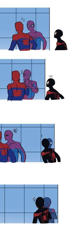 Spiderman, Peter Parker and Miles Morales. Marvel Jokes, Marvel Funny, Marvel Dc Comics, Marvel Heroes, Funny Comics, Marvel Avengers, Marvel Universe, Naruto, Univers Dc