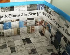 Step Along the inside edge of my basket I added a row of The New York Times banners to cover the ragged ends of the overlapped strip ends from above. Newspaper Craft Basket, Recycle Newspaper, Newspaper Crafts, Book Baskets, Cardboard Art, Glue Crafts, Air Dry Clay, Journal, Animal Quotes