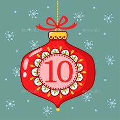 Vector Christmas advent calendar in childrens style. Beautiful Christmas tree toy. Illustration with christmas ball.