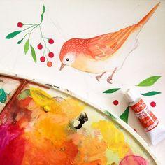 Bird painting, beautiful orange and reds by @printspiring