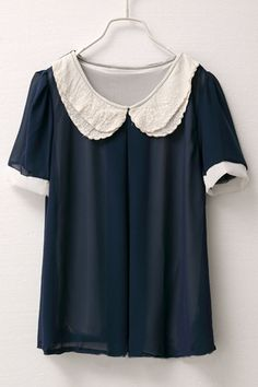 Contrast Colored Double-layer Embroidery Peter Pan Collar Chiffon Blouse $30.00