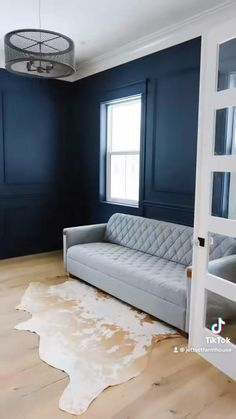 I love this dark navy for a home office! Navy Walls, Diy Wall Decor, Home Decor, Room Ideas Bedroom, Home Office Design, Farmhouse Design, My House, Toddler Bed, Couch