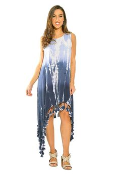 690b3742695 Tie Dye Asymmetrical High Low Sundresses For Women - Navy Tie Dye -  CX12N1M591B. Best Casual DressesCasual OutfitsSexy ...