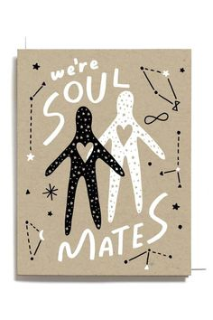 We Are Soul Mates Valentine's Day Love Screen Printed Folding Love Card Printing Ink, Silk Screen Printing, Soul Mate Love, Soul Mates, Valentine Day Love, Valentines, Love Cards, Paper Cards, White Envelopes