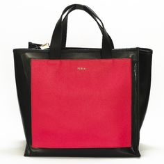 "SALE Furla Divide It Tote Black patent leather with shocking pink front and back panels. Open tote, double flat top leather handles with 5.5"" drop. Two compartments divided by a zip partition with logo lined interior. Brand new. Kept in storage after purchase. Furla Bags Totes"
