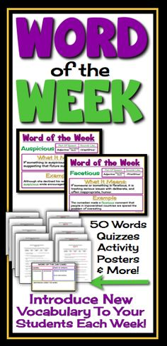 Teaching vocabulary in the middle & high school classroom!  Word of the day or word of the week.  Includes powerpoint, quizzes, activity, bulletin display and more!