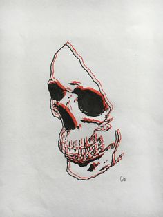 3D Skull illustration created using fine liners