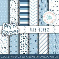 Blue digital paper: Blue Flowers pack of backgrounds by MyRpaper