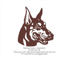 Doberman Pinscher metal wall art - 20 tall - choose your color - dog art - Doberman Face wall art canine dog breed doberman head metal art Measures 18 wide X 20 tall. Stand offs keep it 3/4 from your wall to create a unique look with cool shadows. I cut the Doberman Pinscher