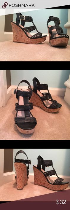 Aldo wedge sandals Black straps, silver buckles, only worn once, excellent condition Aldo Shoes Wedges