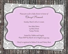 Damask Baby Shower Invitations for Girls in by TheInviteLadyShop, $7.50