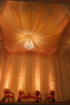 Wedding stage decoration by #Yuna Team  LOVE!!!!!! maybe a different color? crimson? burgundy? or just orange.