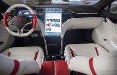 Projekt Snow Tiger – Tesla Modell S – Custom Red und White Alcantara Interio … - Beste Luxus Autos Tesla Model X, Tesla Model S White, Tesla Model S Interior, Bugatti Veyron, Sexy Cars, Hot Cars, Tesla Electric Car, Electric Cars, Electric Vehicle