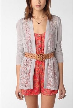 Lace cardigan and belt over coral print rompers!