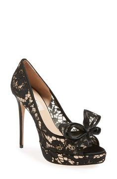 Free shipping and returns on Valentino 'Lace Couture Bow' Open Toe Pump (Women) at Nordstrom.com. A signature bow accents the flirty peep toe of a lacy pump lifted by a slender wrapped heel and platform.