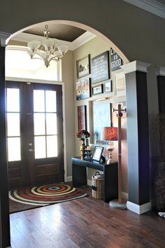 Wall color: Valspar, Lambs Ear and Ceiling Color in Entryway is: Glidden, Bittersweet Chocolate. The House of Rose. http://houseofroseblog.com/front-entryway-decorating-ideas/