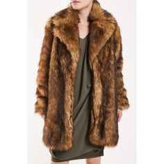 Frontrowshop design faux fur coat ($178) ❤ liked on Polyvore featuring outerwear, coats, fake fur coats, brown faux fur coat, imitation fur coats, brown coat and faux fur coats