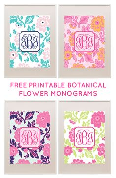 Make your own monograms with our free monogram templates. Use the templates to make monogram wall art or monogram binder covers. Monogram Template, Free Monogram, Free Printable Monogram, Printable Art, Free Printables, Printable Binder Covers, Binder Covers Free, Printable Planner, Project Life