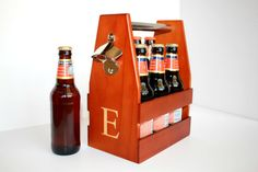 Wooden 6 Pack Beer Carrier with Bottle Opener + Engraving. Perfect for toting your beer to parties, BBQs and tailgates. #groomsman gift
