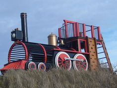 Wooden Train Outdoor Playset Plans | train playset