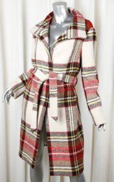 BURBERRY-Womens-Red-Multicolor-Plaid-Tartan-Wool-Long-Sleeve-Coat-Jacket-42-10