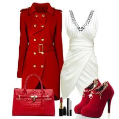 Elegant party outfit-love the dress, not so much of the other stuff