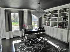 South Shore Decorating Blog: Our Home Through the Years- I like the window treatment. Pretty home office.