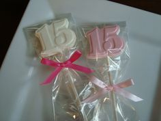 Chocolate Number 15 Lollipops... Quinceanera Birthday Party Favors... #15 dessert table ideas www.rosebudchocolates.com