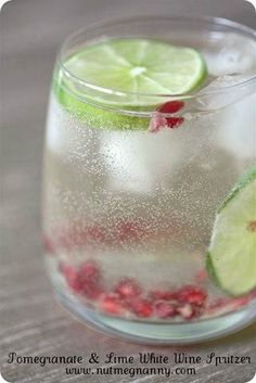 POMEGRANATE LIME WHITE WINE SPRITZER  1/2 CUP SELTZER WATER  1 CUP WHITE WINE  1 TABLESPOON POMEGRANATE SEEDS  1 LIME WEDGE    ADD ICE TO A GLASS. ADD WINE, TOP WITH SELTZER.  ADD POMEGRANATE SEEDS AND LIME WEDGE. ENJOY!