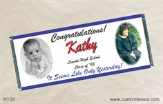 Graduation party favors - personalized candy bar wrappers from www.customfavors.com with the graduates photo. What a great idea! #graduation #grad #personalizedbars #photo