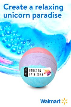Drop into warm running water to transform your tub into a mystical unicorn spa. This long-lasting bath bomb bubbles and swirls magical trails of pink, purple, and blue suds. Discover a variety of fizzing bath bombs at Walmart.