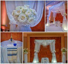 White classic sheer draping chuppah found on Modern Jewish Wedding Blog // Jeff Kolodny Photography, Inc.