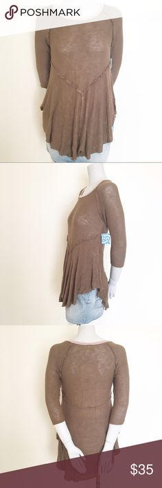 """NWT Free People Weekend Layering Tee Item: Weekend Layering Tee   - Size: Medium  - Material: Rayon/Spandex - Condition: NWT, no flaws  - Color: """"Canteen Combo""""  - Lined: no  *Measurements:  Bust: 17"""" Waist: 15"""" Length: 31"""" in middle  Sleeve: 3/4    * Almost all my prices are negotiable and no offer offends me! * Free People Tops Tees - Long Sleeve"""