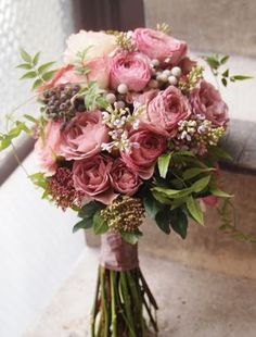 Peri- I like the deeper toned peonies in this bouquet. My bridesmaids are wearing the light grey dresses and I would like for my bouquet to have these same colors mixed in with white and light pink. I would like the stems to be shorter with silver ribbon. Ranunculus Wedding Bouquet, Bride Bouquets, Purple Bouquets, Flower Bouquets, Hand Bouquet Wedding, White Ranunculus, Blush Bouquet, Bridesmaid Bouquets, Boquet