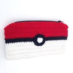 Crocheted Pokeball Pouch, Pokemon Zipper Bag, Nerdy Makeup or Money Bag, Cute Game Pouch for 3DS&PS Vita, Geeky Accessory, Ready to Ship by LoadsOCuties on Etsy
