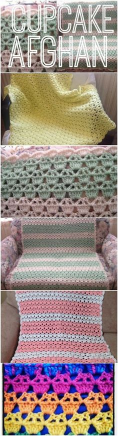 How to Make a Warm, Cozy Cupcake Afghan Any Baby Will Love Afghan Patterns, Crochet Blanket Patterns, Baby Patterns, Crochet Blankets, Baby Blankets, Baby Afghan Crochet, Baby Afghans, Free Crochet, Feather Blanket