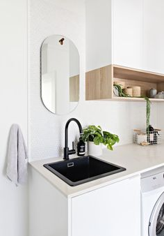 Home Renovation, jaw dropping and resourceful post reference 5234868187 - Into Do It Yourself room makeover tips and help. Laundry Decor, Laundry Room Design, Laundry In Bathroom, Kmart Bathroom, Laundry Tubs, Bathrooms, Modern Laundry Rooms, Laundry Room Inspiration, Interior Desing