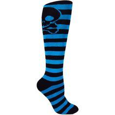 Moxy Socks Cobalt Blue and Black Striped Knee-High Skull Deadlift... ❤ liked on Polyvore featuring intimates, hosiery, socks, shoes, stripe socks, black socks, knee high socks, black hosiery and black knee high socks