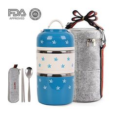 a05bb1884109 Cute Lunch Box Insulated Lunch Bag Bento Box Food Container Storage Boxes  With Spoon For Kids Children Adults Office School Camping (blue starfish)